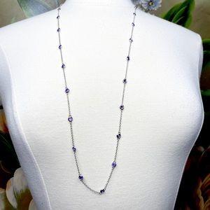 Nolan Miller Purple Amethyst Silver Tone Necklace